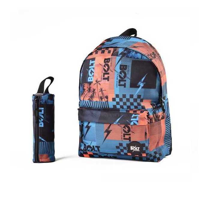 MOCHILA Y ESTUCHE LIGHTNING BOLT PUNK IN DRUBLIC ORANGE/BLUE