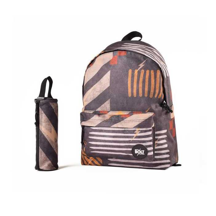 MOCHILA Y ESTUCHE LIGHTNING BOLT STREET SHARPES GREEN/ORANGE