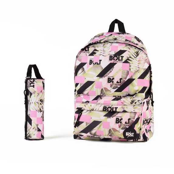 MOCHILA Y ESTUCHE LIGHTNING BOLT CROP JUNGLE PINK/GREEN