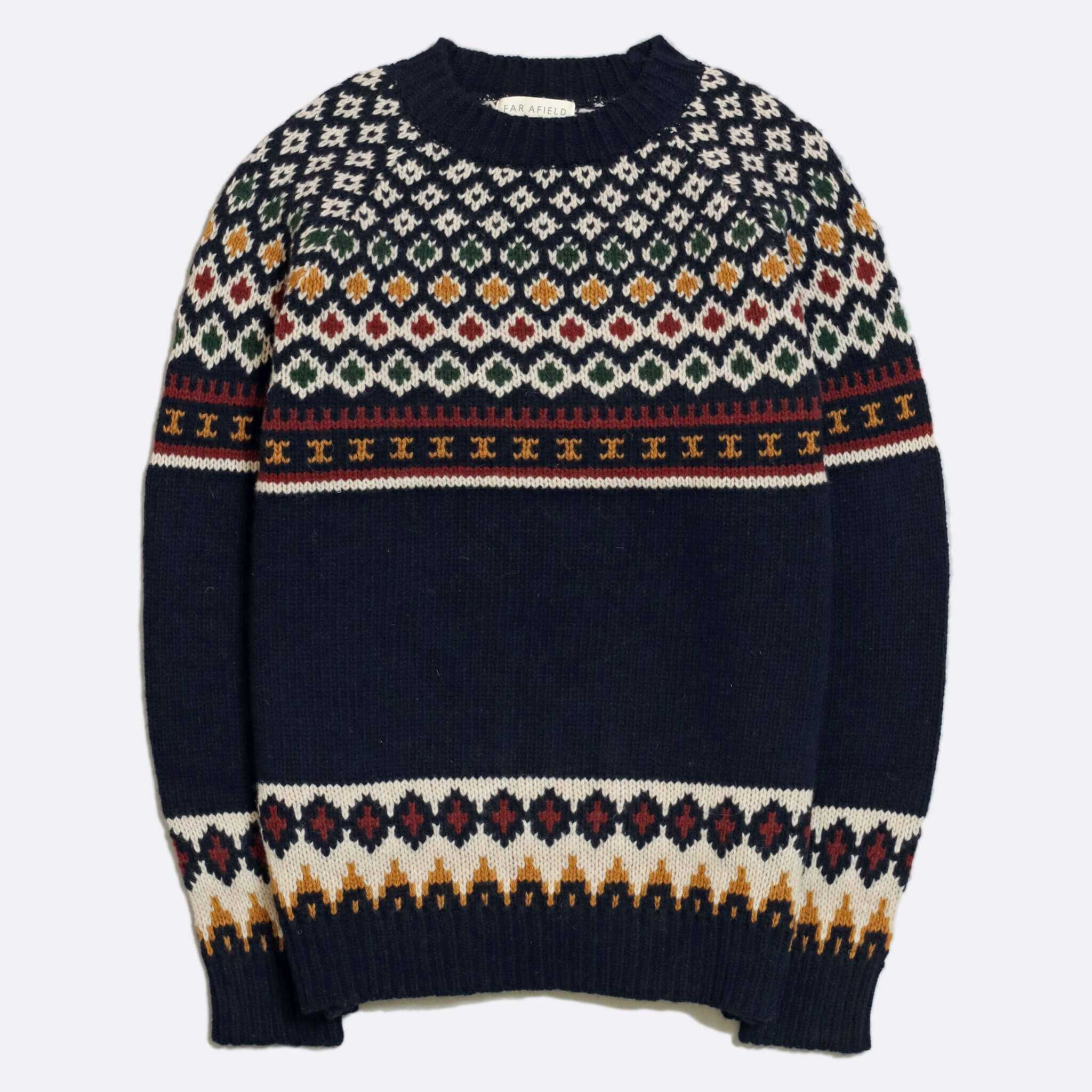JERSEY FAR AFIELD WOOL MAURICE KNIT NAVY
