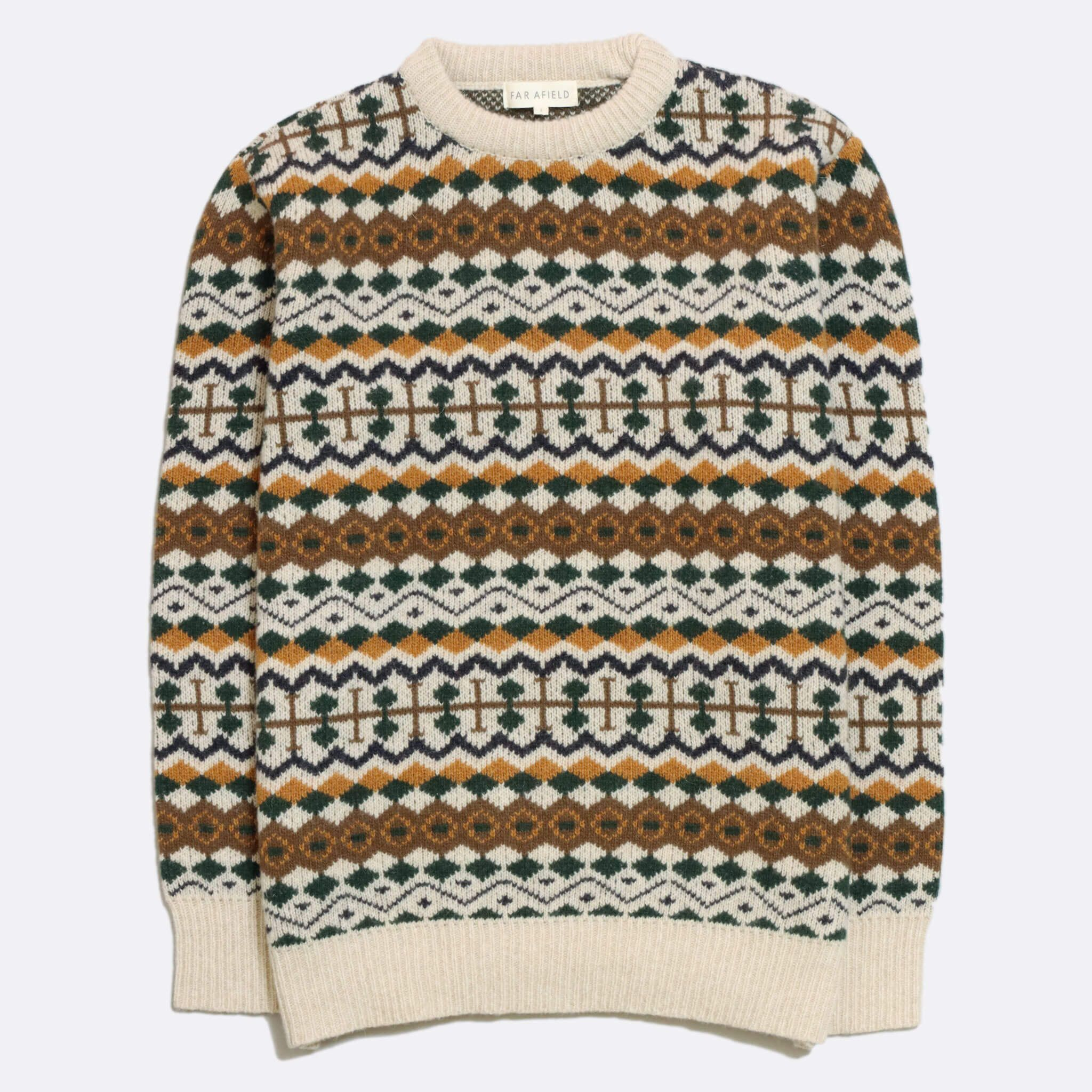 JERSEY FAR AFIELD WOOL FAIR ISLE BEIGE