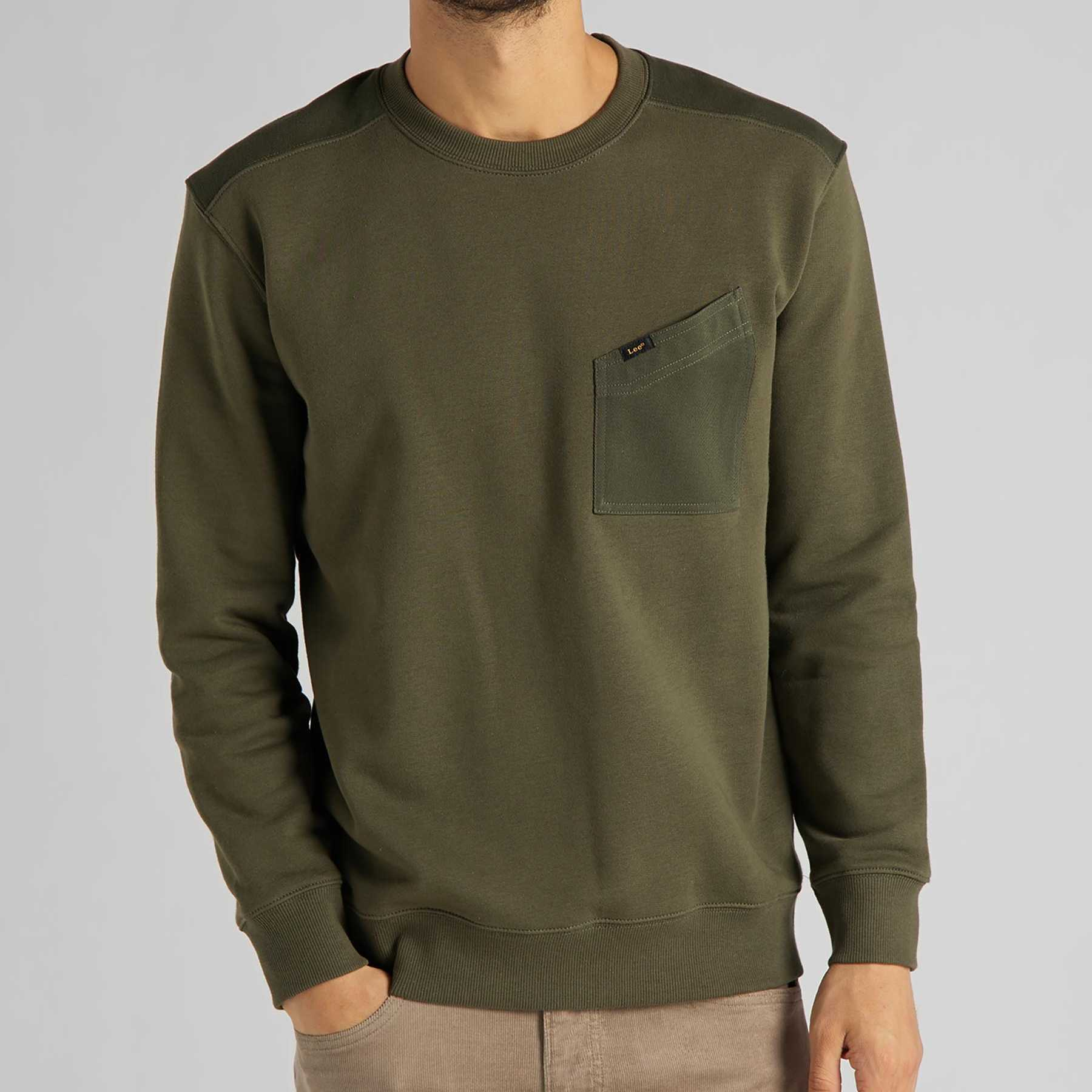 SUDADERA LEE MILITARY DETAILS OLIVE GREEN
