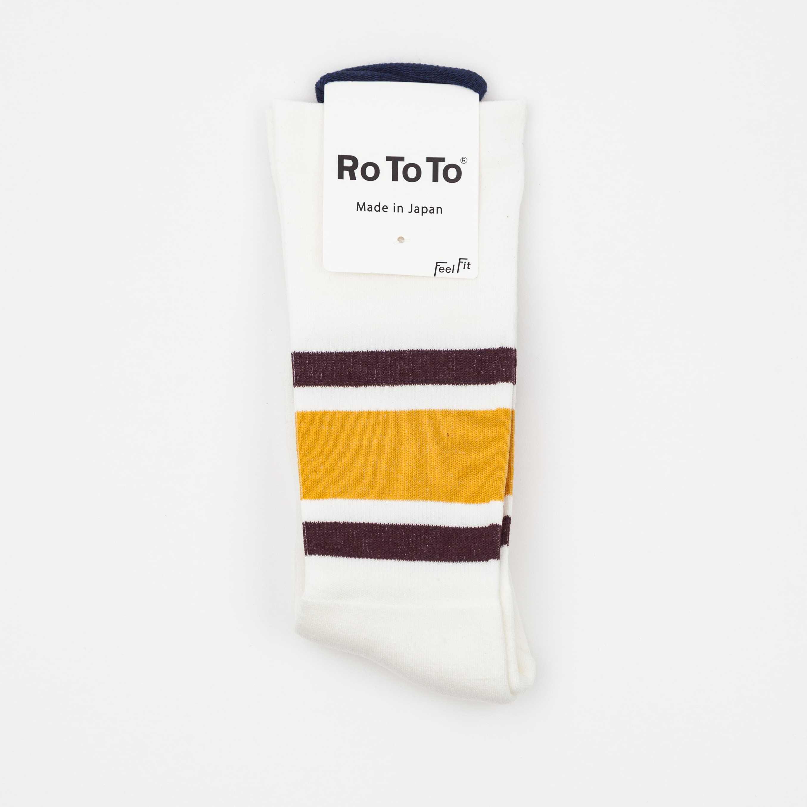 CALCETINES ROTOTO DAILY COMPRESSION OLD SCHOOL STRIPE YELLOW/BURGUNDY